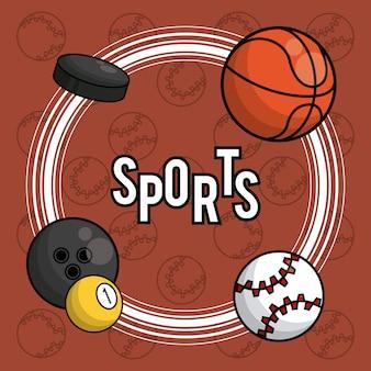 Fondo de tarjeta vibrante de equipos de pelotas de deportes