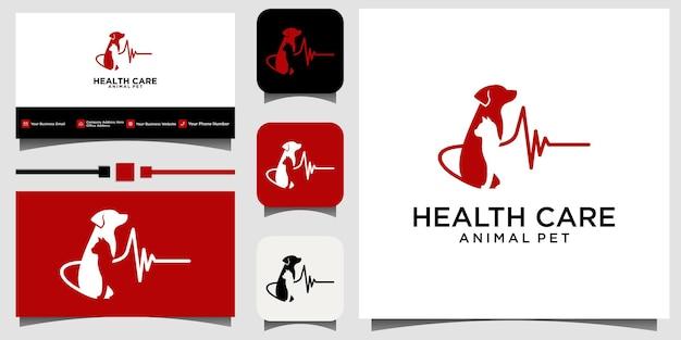 Fondo de tarjeta de visita de plantilla de vector de logotipo de cuidado de mascotas de animales de cuidado de la salud
