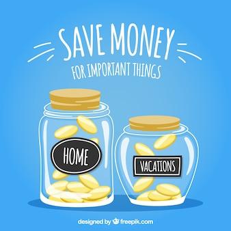 Fondo de tarros con ahorros para la casa y vacaciones