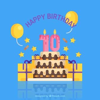 Fondo de tarta de cumpleaños con velas y regalos