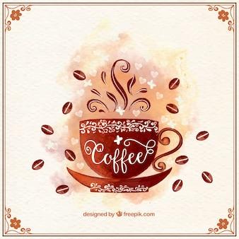 Fondo de taza de café ornamental de acuarela