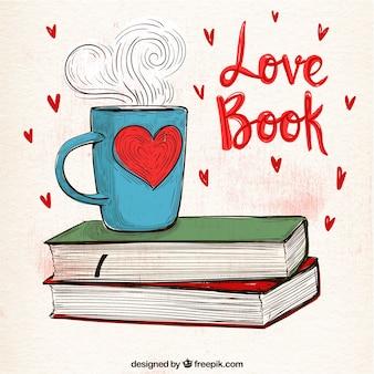 Fondo de taza con libros dibujados a mano