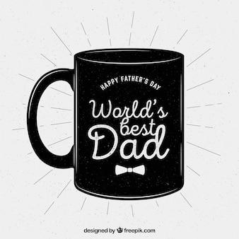 Fondo de taza retro de feliz día del padre