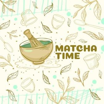 Fondo de té matcha dibujado a mano