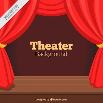 Fondo de teatro con cortinas rojas y escenario de madera