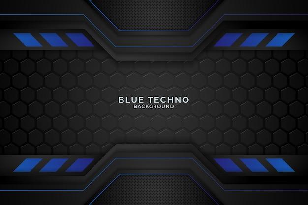 Fondo de techno azul mínimo. ilustración forma geométrica abstracta moderna futurista vector premium