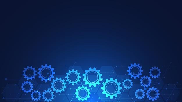 Fondo técnico abstracto con engranajes y mecanismos de rueda dentada.