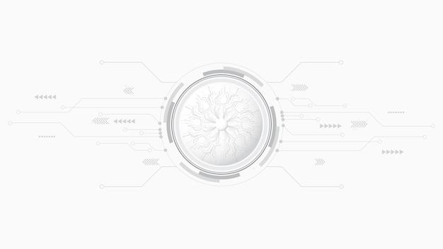 Fondo de tecnología abstracta decoración de geometría de círculo, ciencia y tecnología línea digital fondo blanco