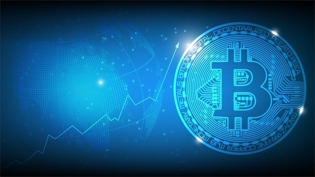 Fondo de tecnología abstracta futurista azul con concepto de bitcoin y blockchain.