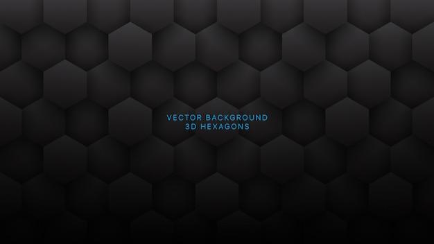 Fondo de tecnología abstracta gris oscuro de hexágonos