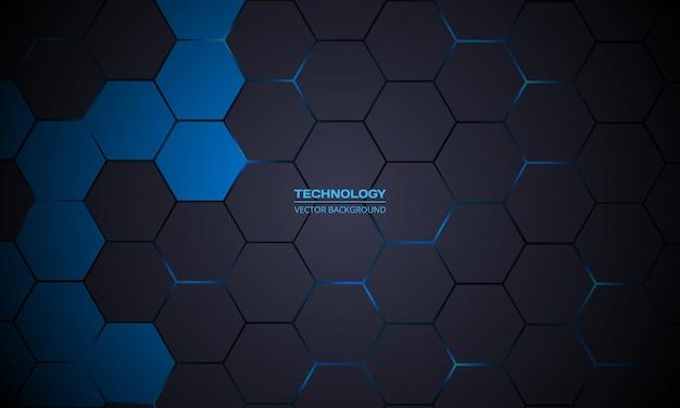 Fondo de tecnología abstracta hexagonal gris oscuro