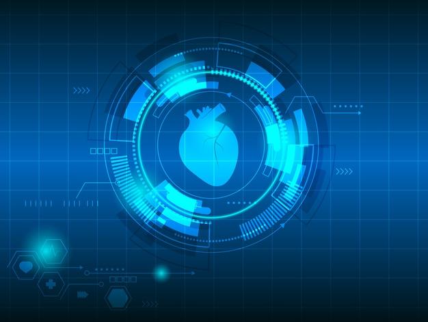 Fondo de tecnología abstracta de latidos del corazón