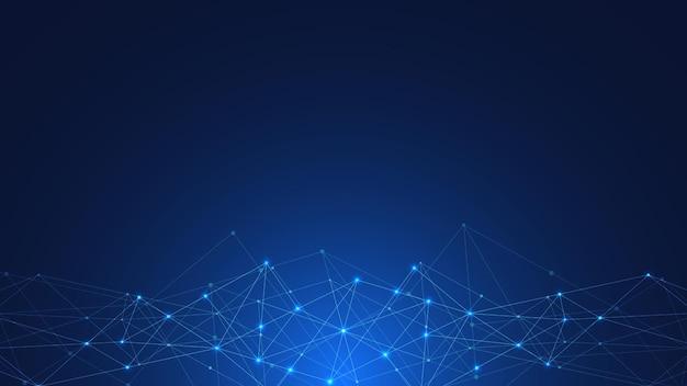 Fondo de tecnología abstracta con puntos y líneas de conexión. tecnología digital de comunicación y conexión de red global.