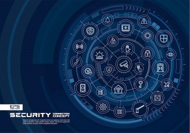 Fondo de tecnología abstracta. sistema de conexión digital con círculos integrados, brillantes iconos de líneas finas. concepto de interfaz de realidad virtual aumentada. futura ilustración infográfica