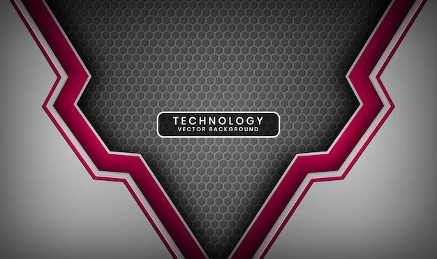 Fondo de tecnología abstracto 3d plata y rojo con capa superpuesta y hexágonos metálicos