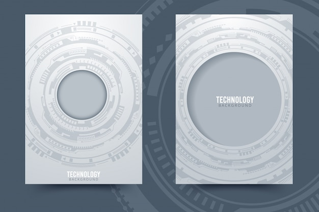 Fondo de tecnología abstracto blanco gris con diversos elementos tecnológicos