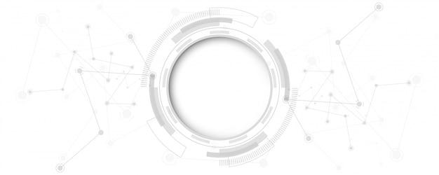 Fondo de tecnología abstracto blanco gris con varios elementos de tecnología fondo de innovación de concepto de comunicación de alta tecnología