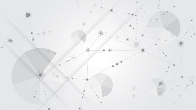 Fondo de tecnología abstracto blanco gris