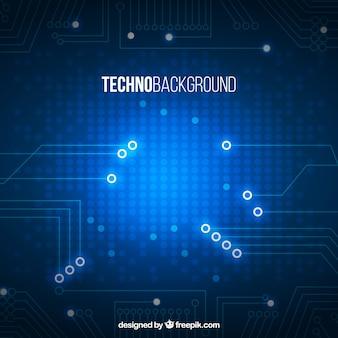 Fondo de tecnología azul con formas brillantes