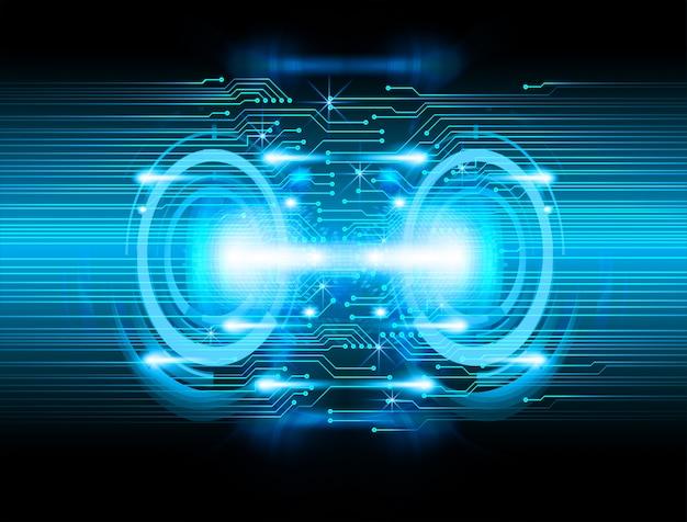 Fondo de tecnología azul futuro circuito cibernético
