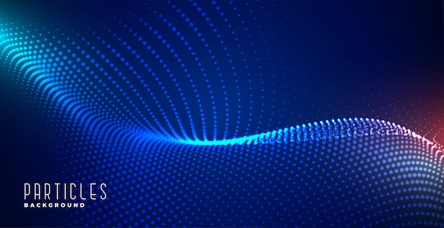 Fondo de tecnología azul de partículas digitales brillantes