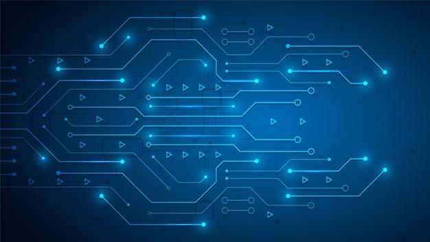 Fondo de tecnología de circuito con sistema de conexión de datos digitales de alta tecnología y computadora electrónica