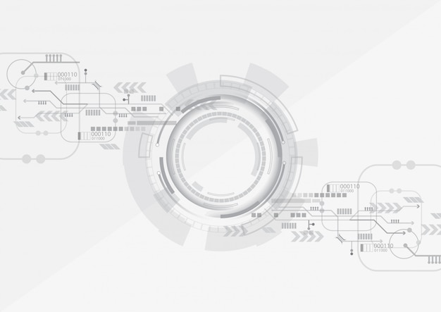 Fondo de tecnología de círculo gris