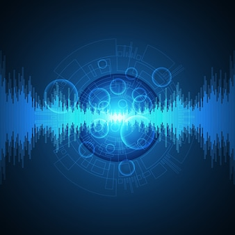 Fondo de tecnología en el concepto de sonido.