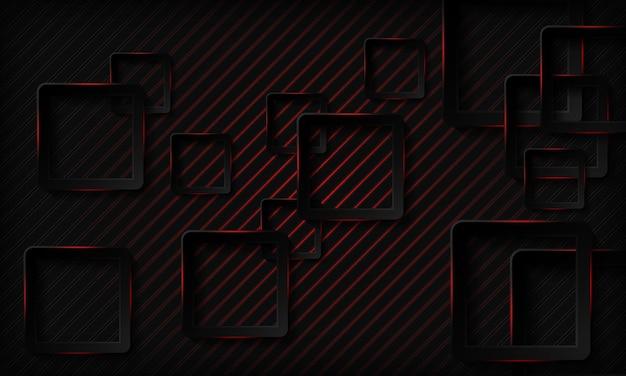 Fondo de tecnología cuadrado oscuro con efecto de luz de neón rojo