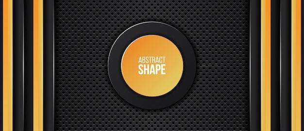Fondo de tecnología de diseño de marco metálico amarillo y negro naranja abstracto