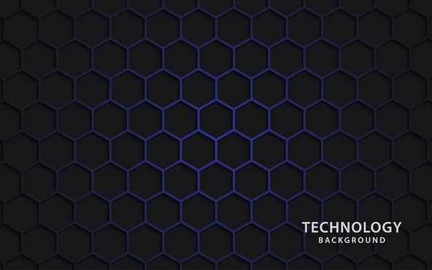 Fondo de tecnología con formas hexagonales.