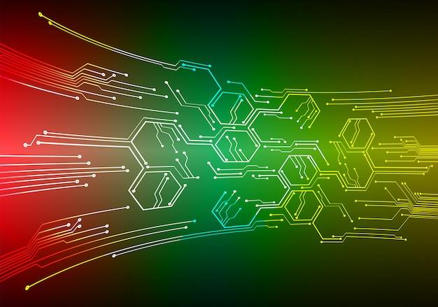 Fondo de tecnología futura de circuito cibernético amarillo rojo verde