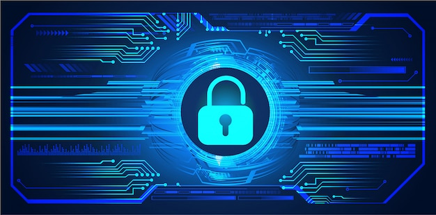 Fondo de tecnología futura del circuito cibernético azul de hud, candado cerrado, llave