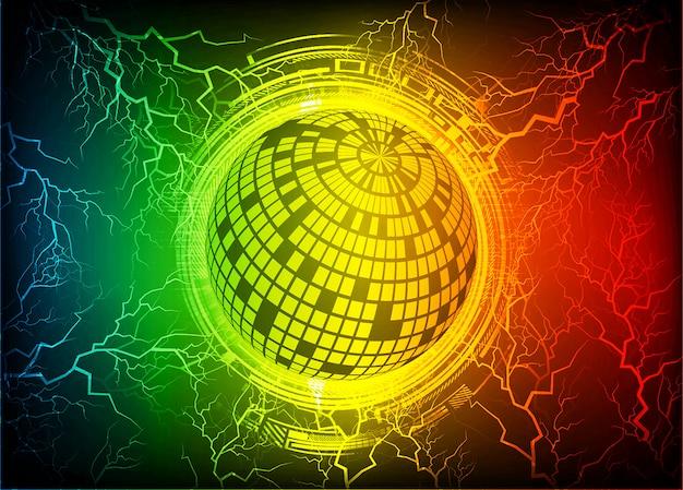 Fondo de tecnología futura de circuito cibernético mundo amarillo azul rojo