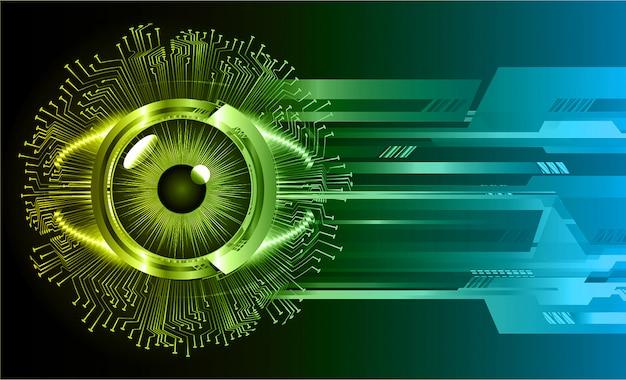 Fondo de tecnología futura del circuito cibernético de ojo verde azul