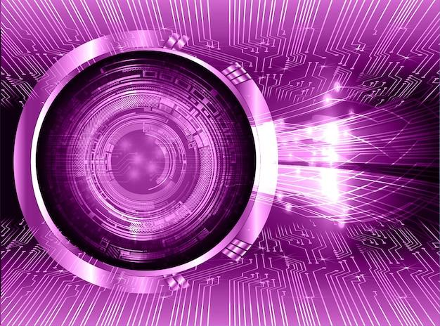 Fondo de tecnología futura del circuito cibernético de ojos morados