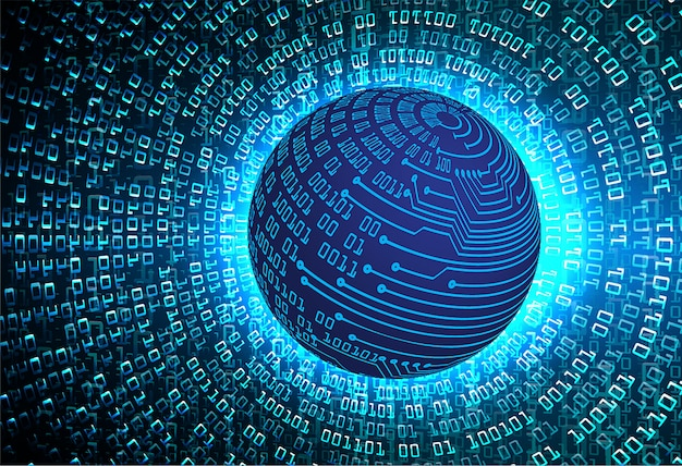 Fondo de tecnología futura del mundo azul circuito cibernético