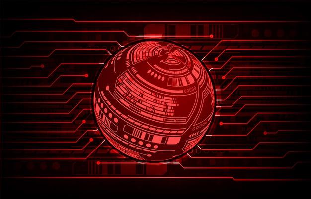 Fondo de tecnología futura del mundo rojo circuito cibernético