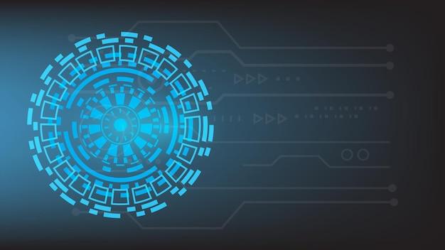Fondo de tecnología futurista abstracto pantalla de hud de círculo de alta tecnología virtual con luz brillante