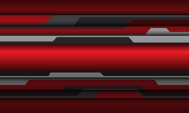 Fondo de tecnología futurista abstracto rojo gris metálico cyber polígono diseño.