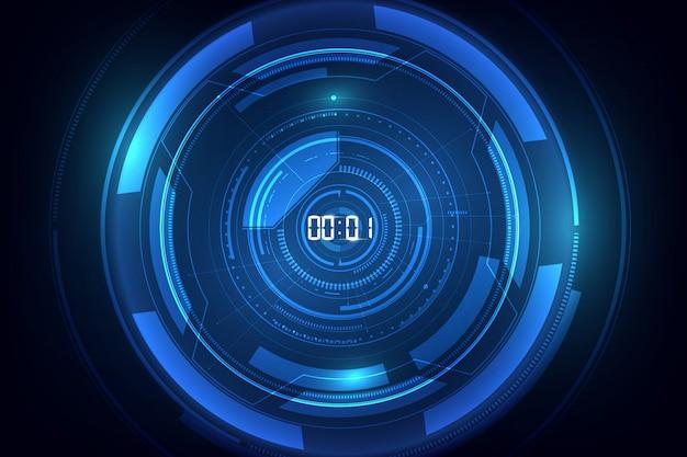 Fondo de tecnología futurista abstracto con temporizador digital número c