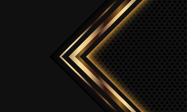 Fondo de tecnología futurista de lujo moderno diseño de malla de círculo de flecha de luz gris oro abstracto