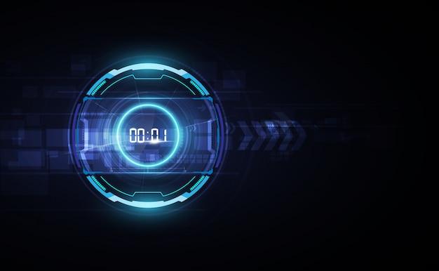 Fondo de tecnología futurista con temporizador numérico digital y cuenta regresiva