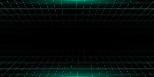 Fondo de tecnología futurista verde oscuro con efecto de luz