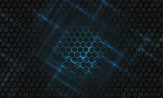 Fondo de tecnología hexagonal abstracto negro y azul