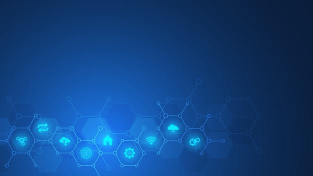 Fondo de tecnología con iconos y símbolos planos. concepto e idea para internet de las cosas, comunicación, red, tecnología de innovación, integración de sistemas.