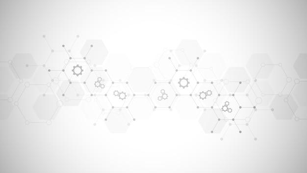 Fondo de tecnología con iconos y símbolos planos