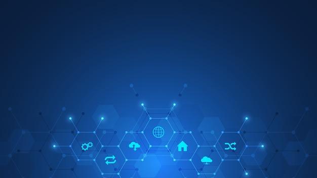 Fondo de tecnología con iconos y símbolos.