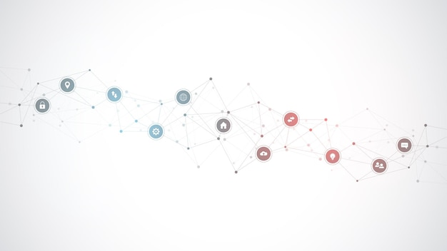 Fondo de tecnología de la información con elementos infográficos e iconos planos.