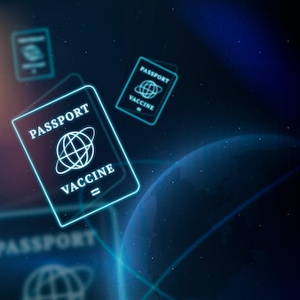 Fondo de tecnología inteligente de vector de frontera de pasaporte de vacuna covid-19 en azul